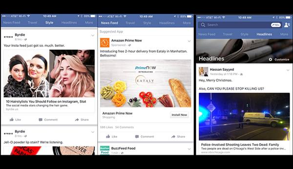 Facebook, mobilde konu bazlı haber kaynağını test ediyor