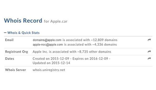 Apple'dan otomobiline yönelik alan adları