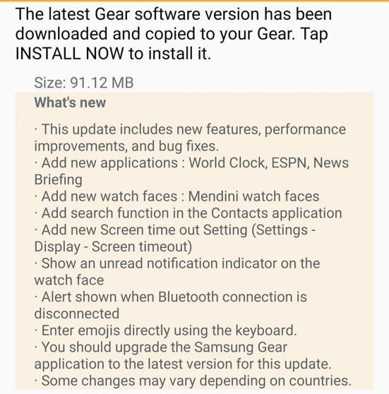 Samsung Gear S2 için güncelleme zamanı