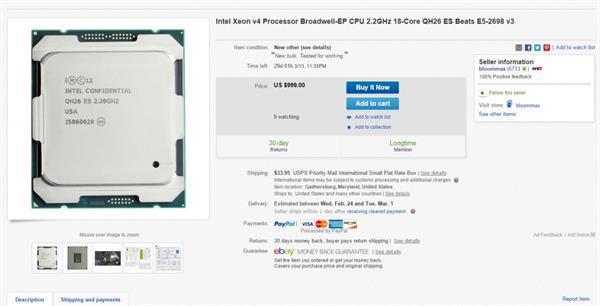 Intel'in henüz piyasaya çıkmamış 18 çekirdekli Xeon işlemcisi eBay'de göründü