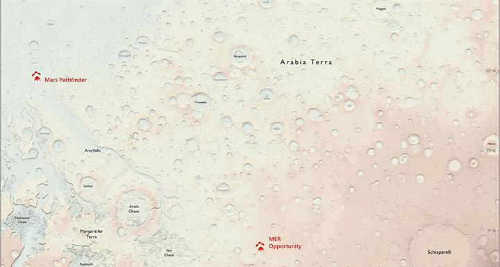 Mars'ın insanlar için hazırlanmış ilk haritasına göz atın!
