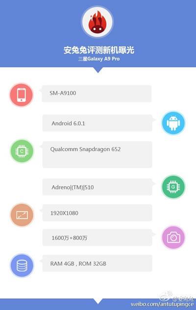 Samsung Galaxy A9 Pro, Snapdragon 652 CPU ve 4GB RAM'le gelecek