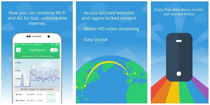 Speedify: Yüksek internet hızı için Wi-Fi ve 3G/4G bağlantıları birleştirin