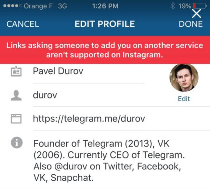 Instagram, kullanıcı profillerindeki Telegram ve Snapchat linklerini engelledi