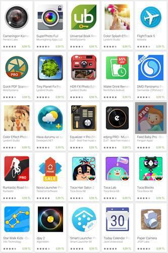 Google Play Store'da popüler 28 uygulama 60 kuruşa düştü