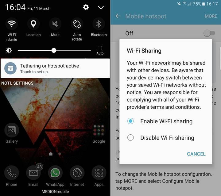 Samsung Galaxy S7 modelleri Wi-Fi bağlantısını paylaşabilliyor