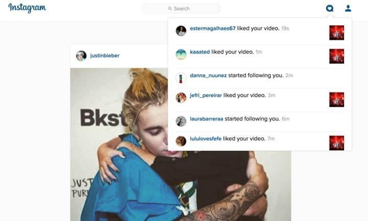 Instagram'ın web arayüzüne bildirim özelliği geldi