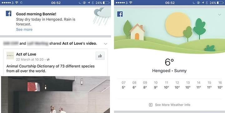 Facebook artık kullanıcılara hava durumunu da bildirecek