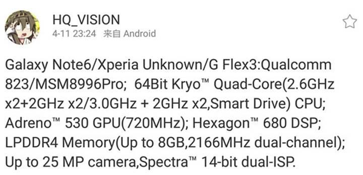 Galaxy Note 6 için Snapdragon 823 işlemci ve 8GB RAM iddiası