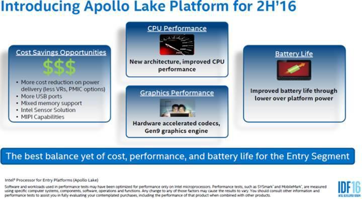 Ucuz bilgisayarlar için yeni işlemci ailesi: Intel Apollo Lake