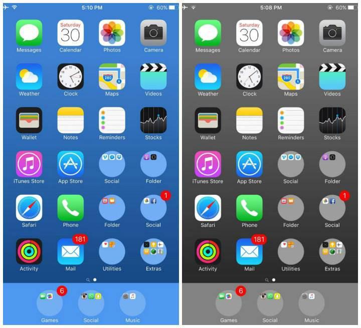 iOS 9.3 sürümündeki açık, klasörleri yuvarlak hale getiriyor