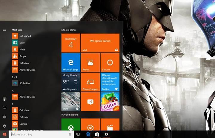 Windows 10 Redstone güncellemesiyle gelecek yeni Başlat menüsü eleştiriliyor