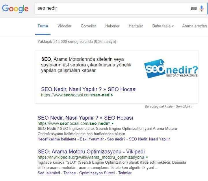 Google Zengin Cevaplar (Rich Answers) nedir?
