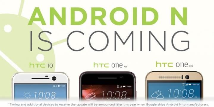 HTC 10, One M9, ve One A9 modelleri Android N güncellemesini alacak