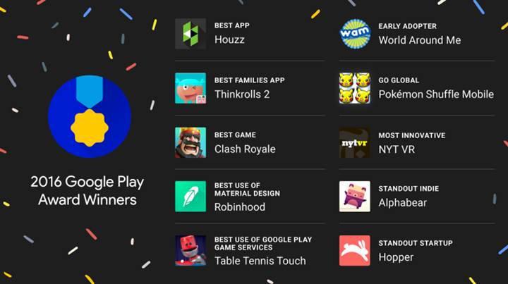 Google Play'in en iyileri belli oldu