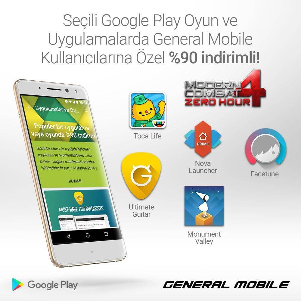 General Mobile'dan Google Play Store'da %90 indirim