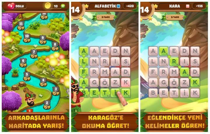 Alfabetik Karagöz yeni kelime bulma eğlenceniz