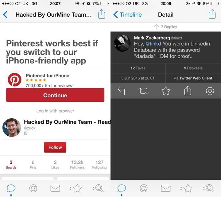 Mark Zuckerberg'in sosyal medya hesapları hacklendi