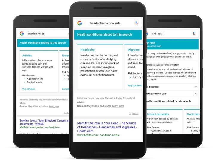 Google, tıbbi semptoplar aratıldığında doktor olacak