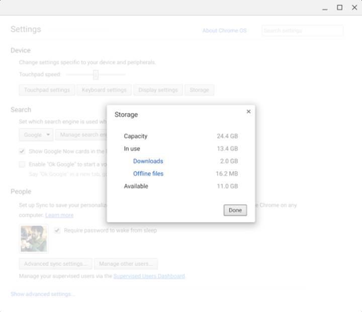 Chrome OS artık depolama yöneticisine sahip