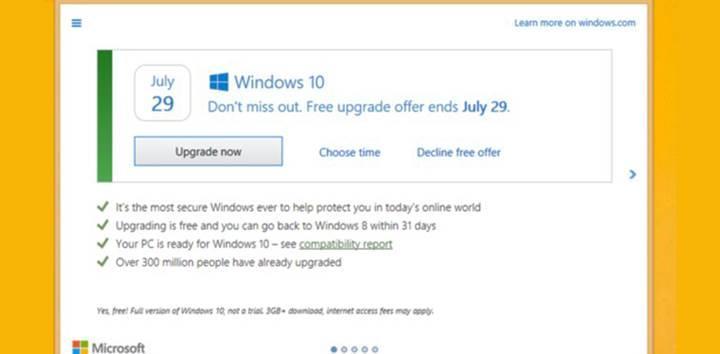 Microsoft, Windows 10 ısrarından vazgeçti