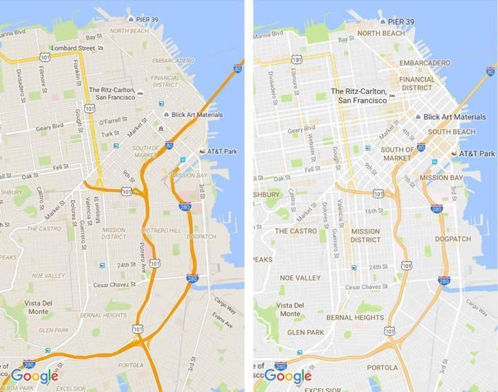 Google Maps yeni sade tasarımıyla fazlalıklarından kurtuluyor