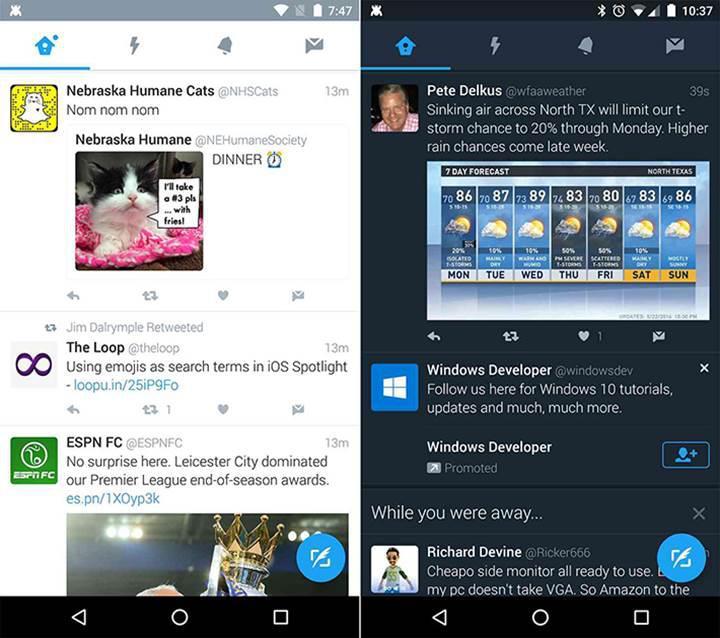 Twitter'ın Android uygulamasına