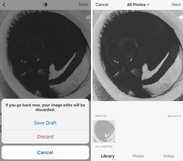 Instagram'a 'taslak olarak kaydet' özelliği geliyor