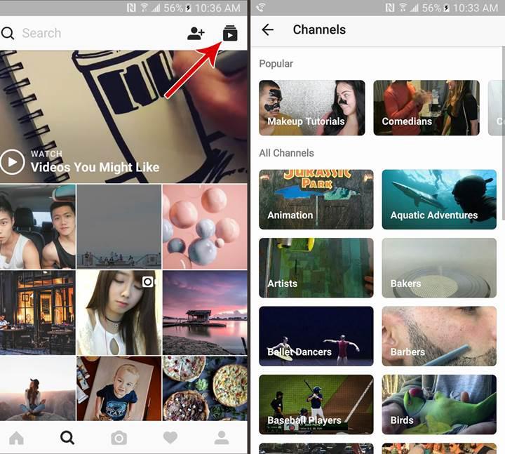 Instagram'da videolar artık kategoriler altında görüntülenecek