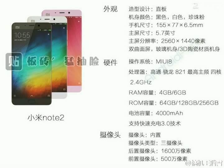 Xiaomi Mi Note 2 de çift kamera ile geliyor