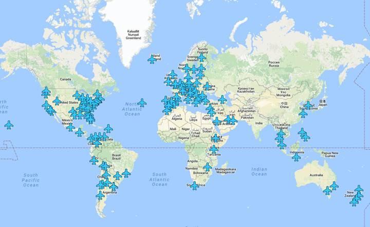 Türk mühendis havaalanlarındaki tüm Wi-Fi şifrelerini bu haritada topladı