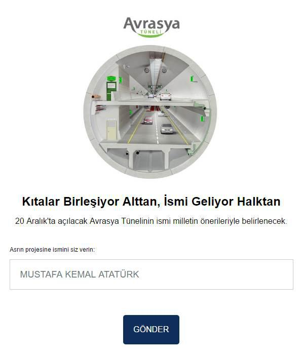 20 Aralık'ta açılacak Avrasya Tüneli'nin ismini siz belirleyin