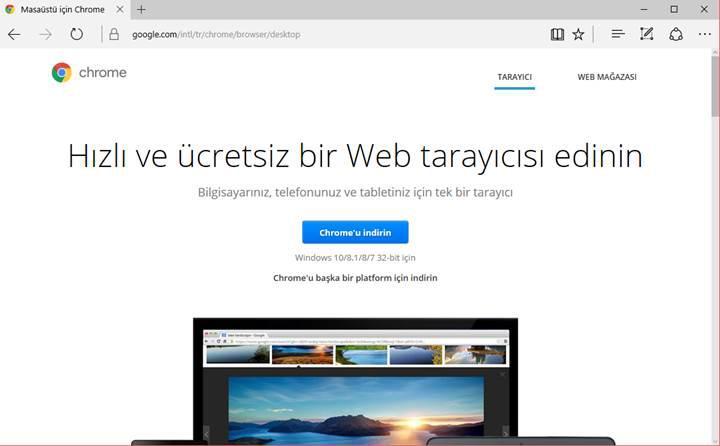 Microsoft Edge sadece Google Chrome indirmek için kullanılıyor