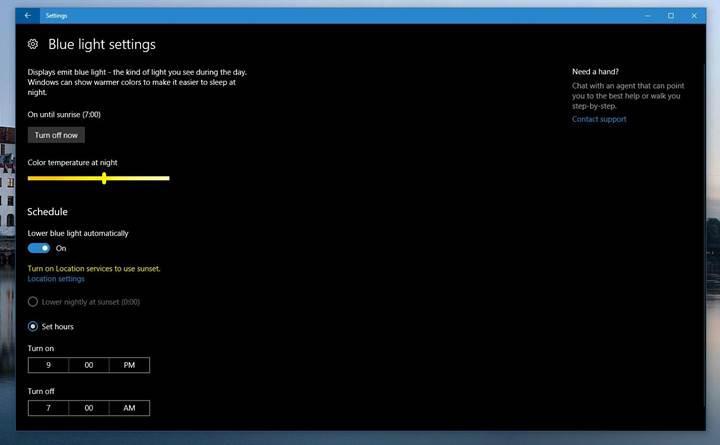 Windows 10'a nihayet mavi ışık filtresi geldi