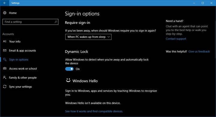 Windows 10, PC başında olmadığınızı algılayarak otomatik olarak kilitlenebilecek