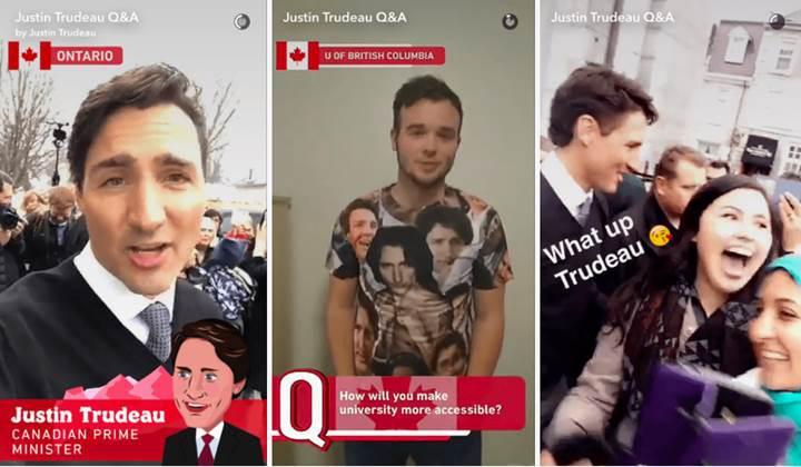 Kanada başbakanı Snapchat ile gençlerin sorularını yanıtlayarak bir ilke imza attı