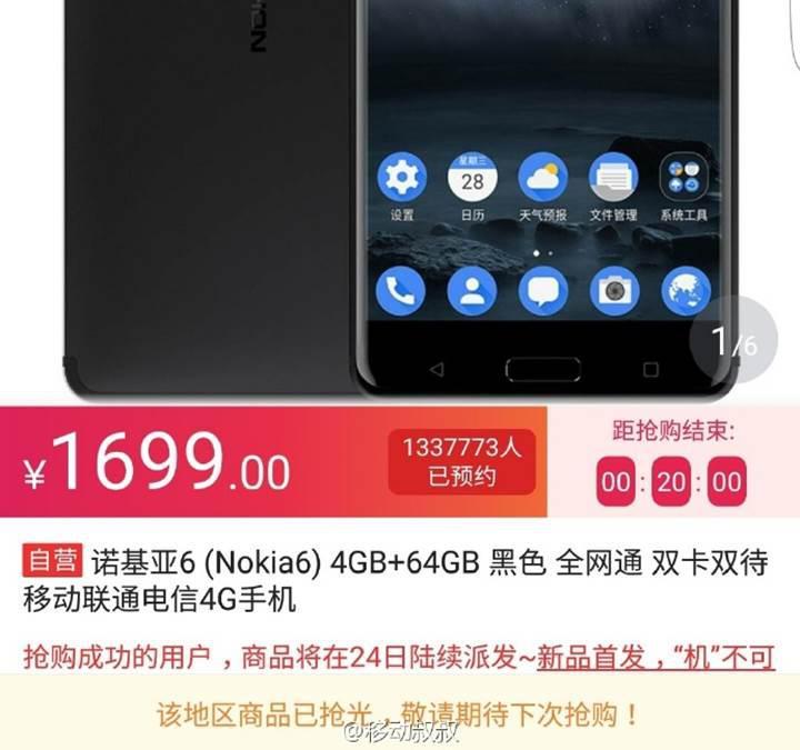 Nokia 6 satışa çıktığı ilk 60 saniye içerisinde tükendi