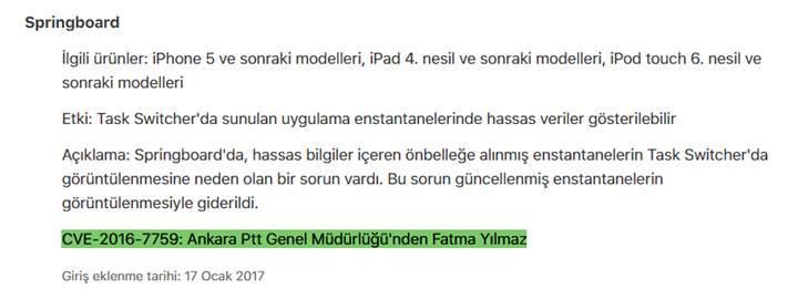 iOS'te güvenlik açığı bulan PTT çalışanı Apple'ın sitesine adını yazdırdı