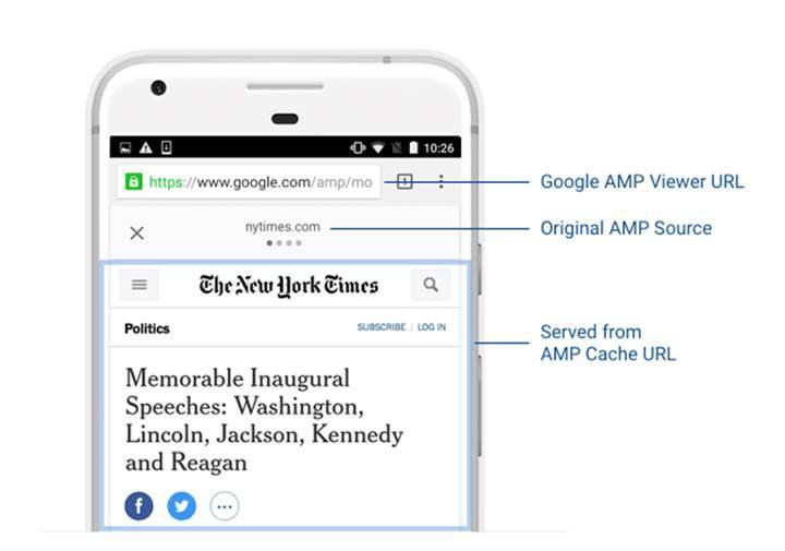 Google AMP sayfalarında artık orijinal adresler yer alacak