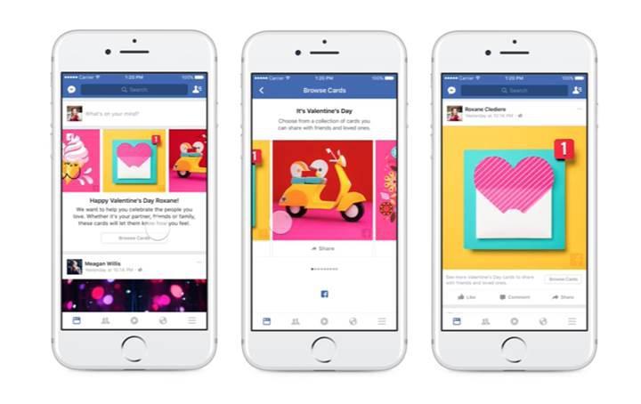 Facebook'tan Sevgililer Günü'ne özel aşk temalı kartlar