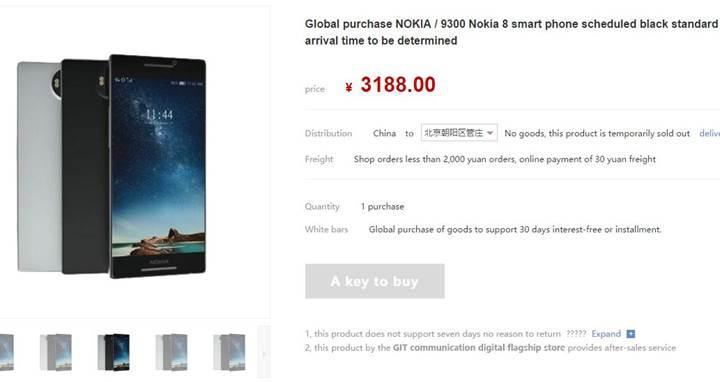 Nokia 8 amiral gemisi Çinli alışveriş sitesinde göründü