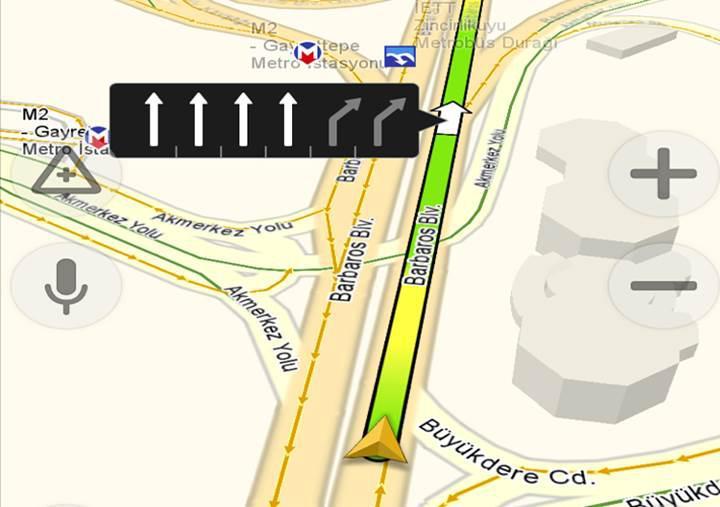 Yandex Navigasyon artık en uygun şeridi ve park yerlerini söyleyecek