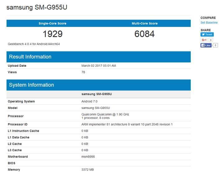 Snapdragon 835'li Samsung Galaxy S8+ benchmark testinde göründü