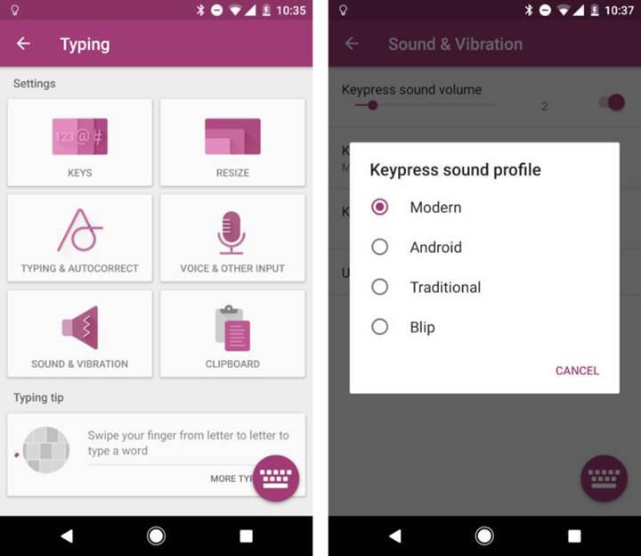 SwiftKey'in son güncellemesi 4 farklı tuş sesi getiriyor