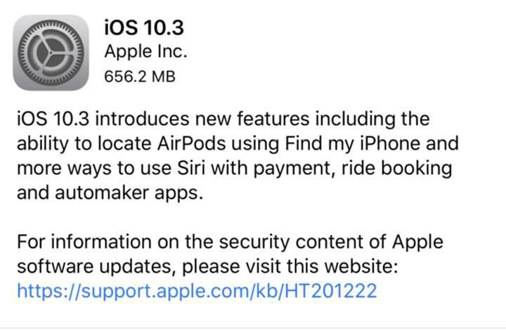 iOS 10.3 güncellemesi dağıtıma başladı