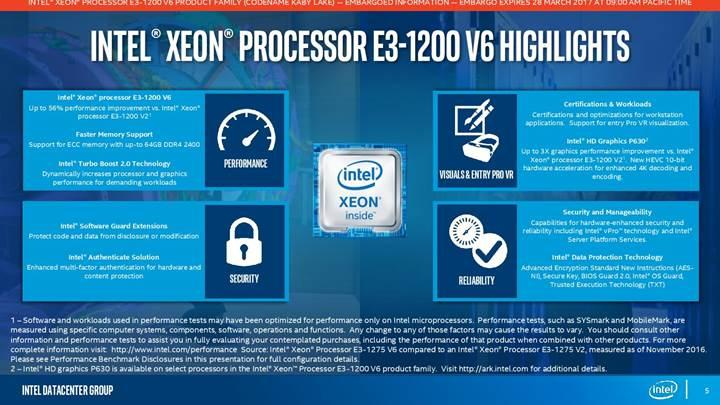 Kaby Lake tabanlı Intel Xeon E3-1200 v6 serisi duyuruldu