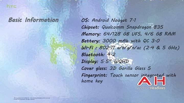 HTC U amiral gemisi 6GB RAM ve Snapdragon 835'le geliyor