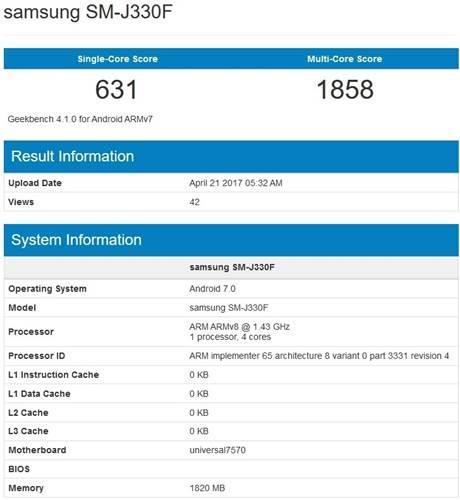 Samsung Galaxy J3 Geekbench'te ortaya çıktı