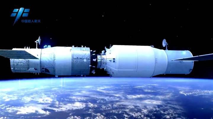 Çin'in kargo uzay aracı, uzay istasyonuna yerleşti