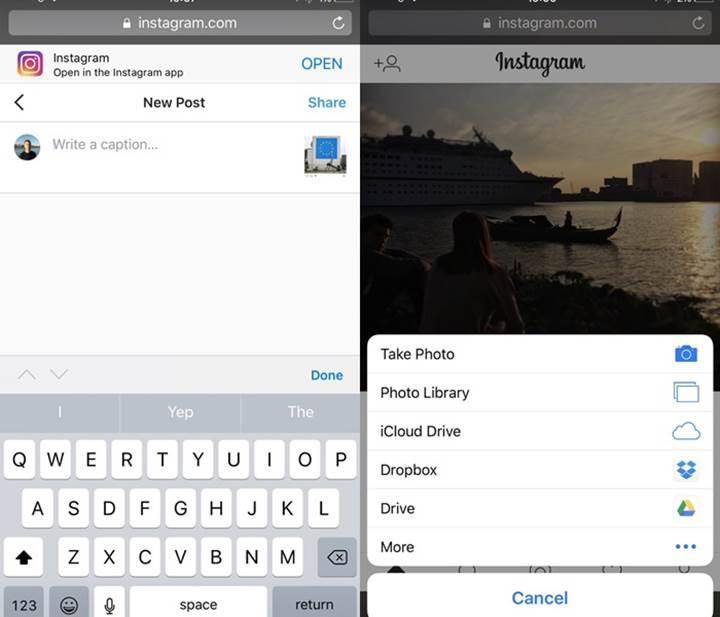 Instagram'ın mobil web sitesine fotoğraf paylaşma özelliği geldi